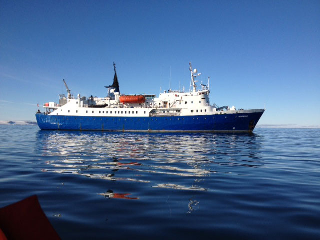 The survey ship Polaris on the 2013 Pristine Seas Expedition to Franz Josef Land.