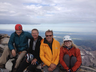 David Quammen atop Grand Teton with (left to right) Paul Bertelli, David, Conrad Anker and Betsy Quammen.